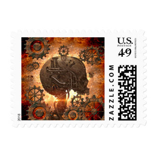Awesome steampunk Skull Postage