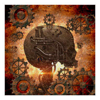 Awesome steampunk Skull Poster