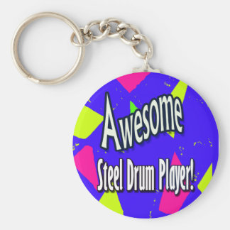 Awesome steel drum player keychain