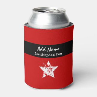 Awesome STEPDAD Modern Red with Black Ribbon A02 Can Cooler