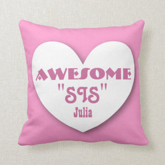 Awesome STEPSISTER with Big Heart PINK Throw Pillow