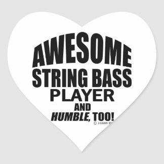 Awesome String Bass Player Heart Sticker