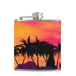 Awesome sunset in pink and gold hip flask