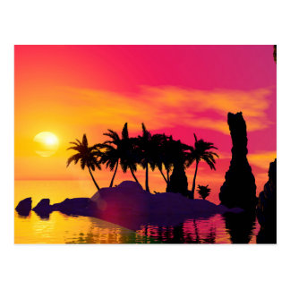 Awesome sunset in pink and gold postcard