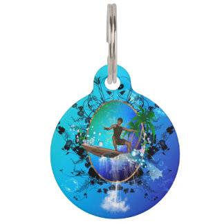 Awesome surfboard pet tag