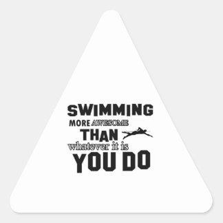 Awesome Swimming  Design Triangle Sticker