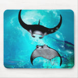 Awesome swimming manta  rays mouse pad