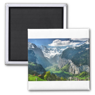 Awesome Switzerland Alps 2 Inch Square Magnet