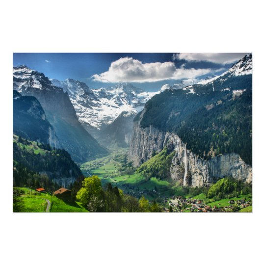 Awesome Switzerland Alps Canvas Fine Art Poster