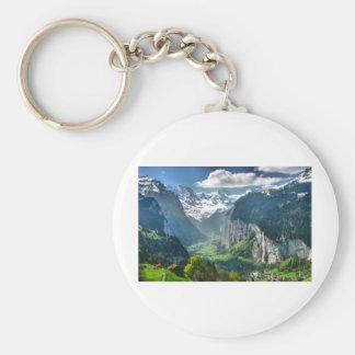 Awesome Switzerland Alps Basic Round Button Keychain