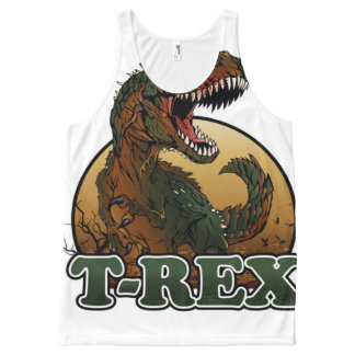 awesome t-rex brown and green illustration All-Over-Print tank top