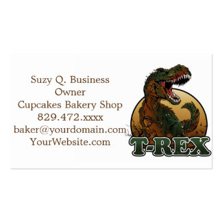 awesome t-rex brown and green illustration business card