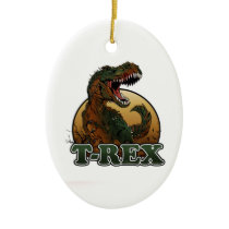 awesome t-rex brown and green illustration ceramic ornament
