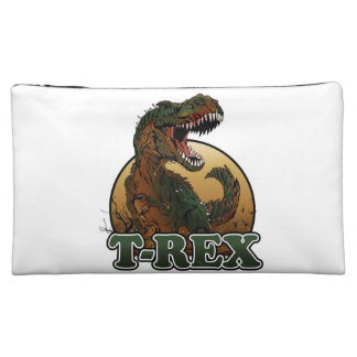 awesome t-rex brown and green illustration cosmetic bag