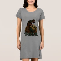 awesome t-rex brown and green illustration dress
