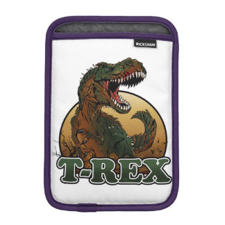 awesome t-rex brown and green illustration iPad mini sleeve