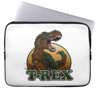 awesome t-rex brown and green illustration laptop sleeve