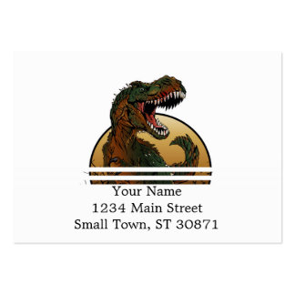 awesome t-rex brown and green illustration large business card