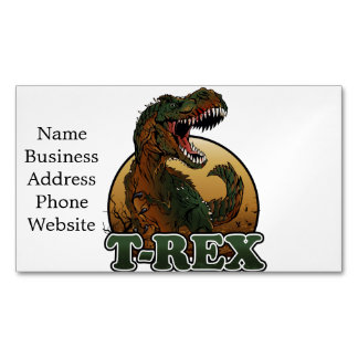 awesome t-rex brown and green illustration magnetic business card