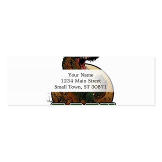awesome t-rex brown and green illustration mini business card