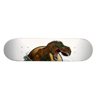 awesome t-rex brown and green illustration skateboard