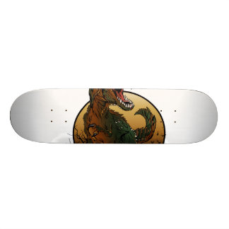awesome t-rex brown and green illustration skateboard deck