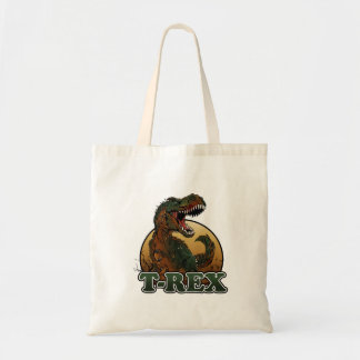 awesome t-rex brown and green illustration tote bag