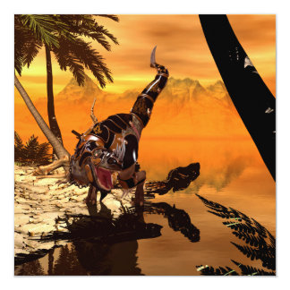 Awesome T-rex with armor in the sunset Card
