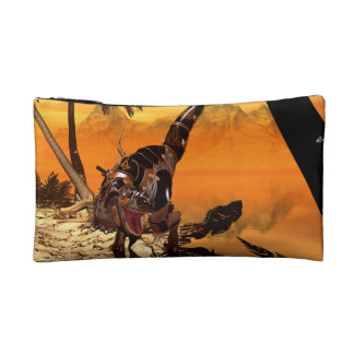 Awesome T-rex with armor in the sunset Cosmetic Bag