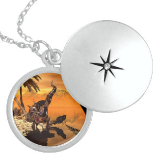 Awesome T-rex with armor in the sunset Round Locket Necklace