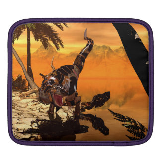 Awesome T-rex with armor in the sunset Sleeve For iPads