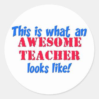 Awesome Teacher Classic Round Sticker