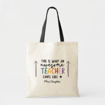 Awesome teacher modern typography rainbow gift tote bag
