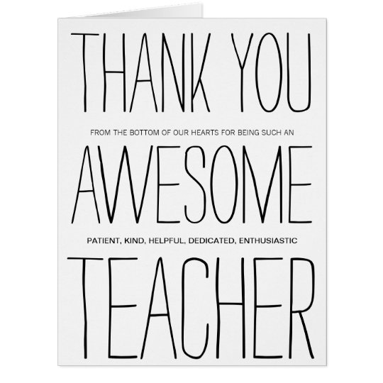 Awesome Teacher Thank You Card  Zazzle