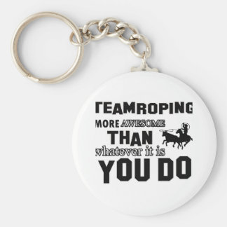 Awesome Team roping Design Basic Round Button Keychain
