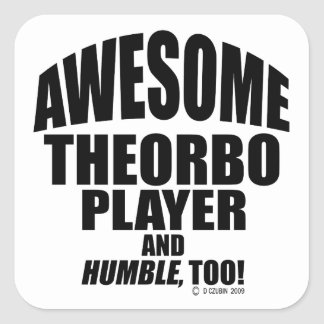 Awesome Theorbo Player Square Sticker