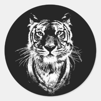 Awesome tiger cat portrait. Wildlife Classic Round Sticker