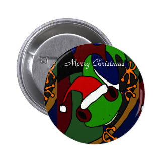 Awesome Tree Frog Christmas Art 2 Inch Round Button