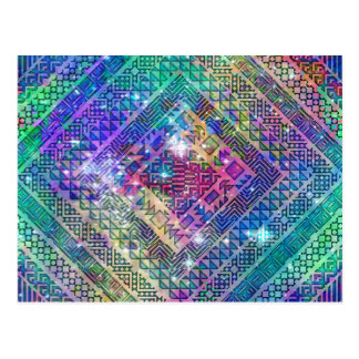 Awesome trendy  Aztec geometric diamond shapes Postcard