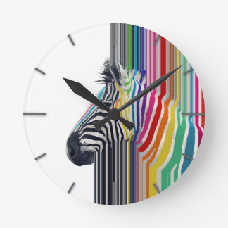 awesome trendy colourful vibrant stripes zebra round wallclock