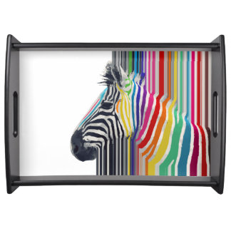 awesome trendy colourful vibrant stripes zebra serving tray