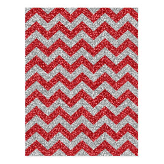 Awesome trendy girly red white chevron zigzag postcard
