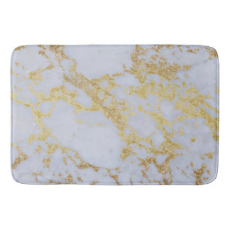 Awesome trendy modern faux gold glitter marble bath mat