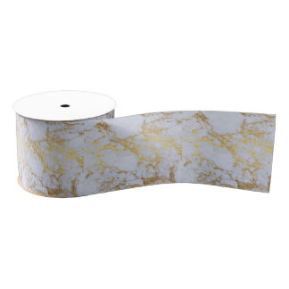 Awesome trendy modern faux gold glitter marble blank ribbon