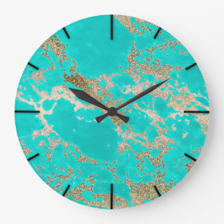 Awesome trendy modern faux gold glitter marble large clock