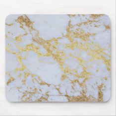 Awesome Trendy Modern Faux Gold Glitter Marble Mouse Pad at Zazzle