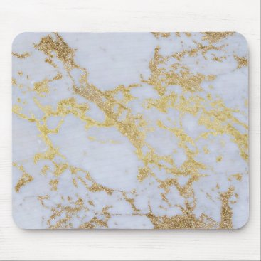InovArtS Awesome trendy modern faux gold glitter marble mouse pad