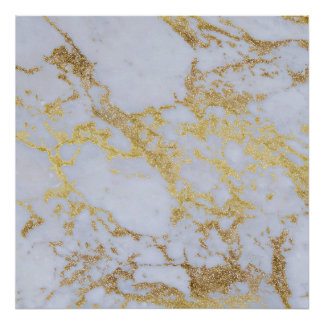 Awesome trendy modern faux gold glitter marble poster