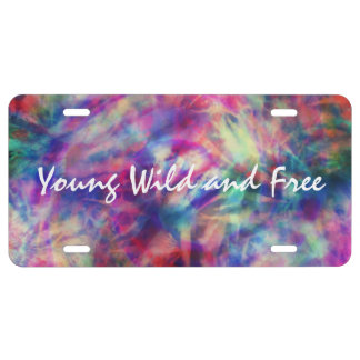 Awesome trendy tribal tie dye young wild and free license plate