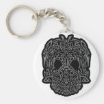 Awesome Tribal Skull Gray & Black Customizable Key Chains